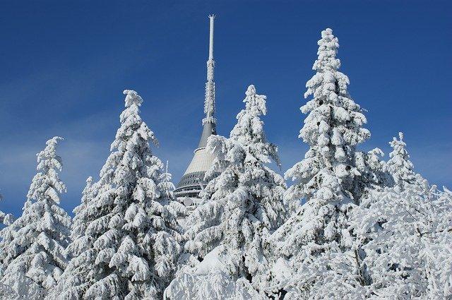 sníh na Ještědu