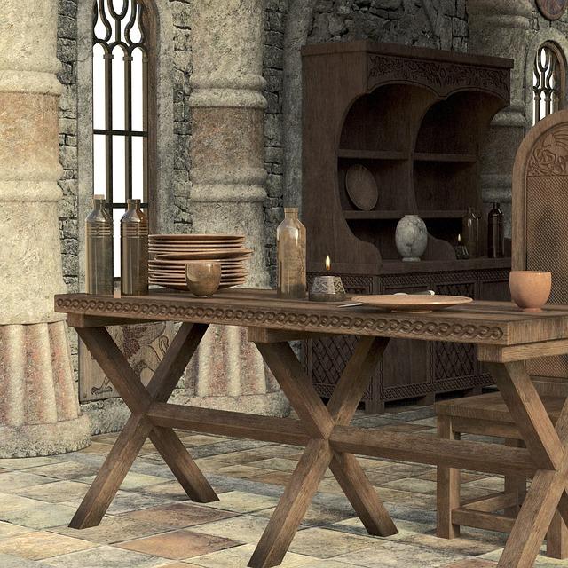 středověká jídelna