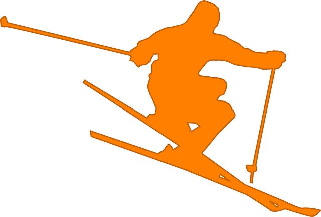 oranžový lyžař