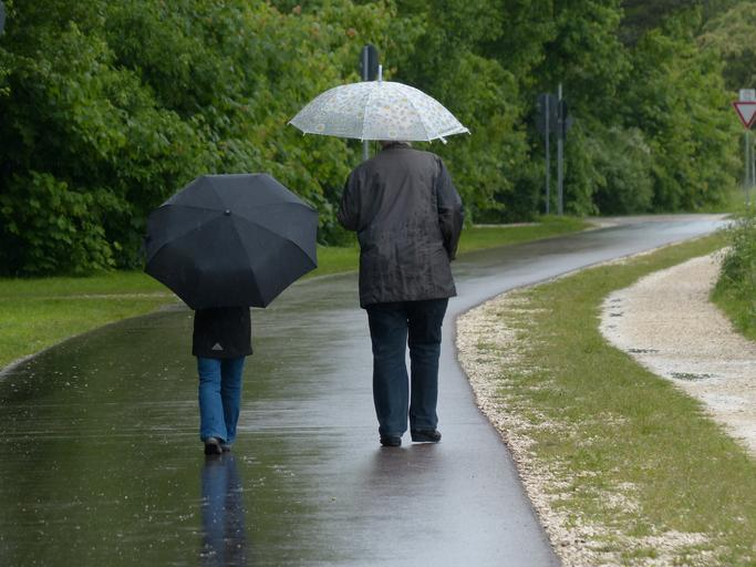 dva lidé jdoucí s deštníky v dešti – jeden dospělý a jedno dítě